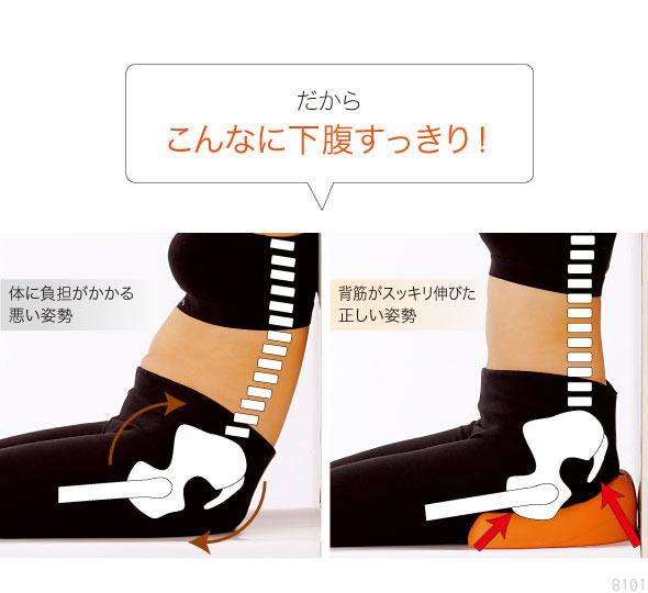 このクッションに座ると骨盤周りがまっすぐな状態で維持され、背筋もピンと伸びます