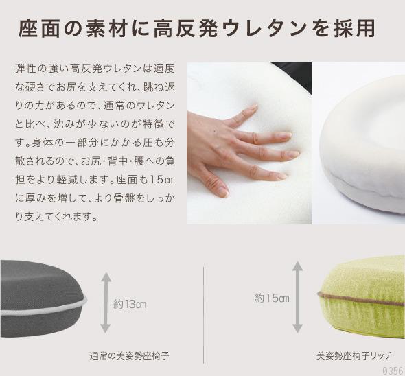 座面の素材に高反発ウレタンを採用